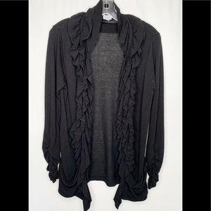 Ruffled Black Open Cardigan Sz L
